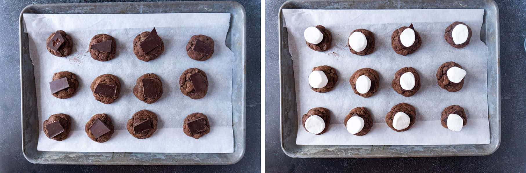 Cookies with chocolate and marshmallows added on cookie sheet before toasting