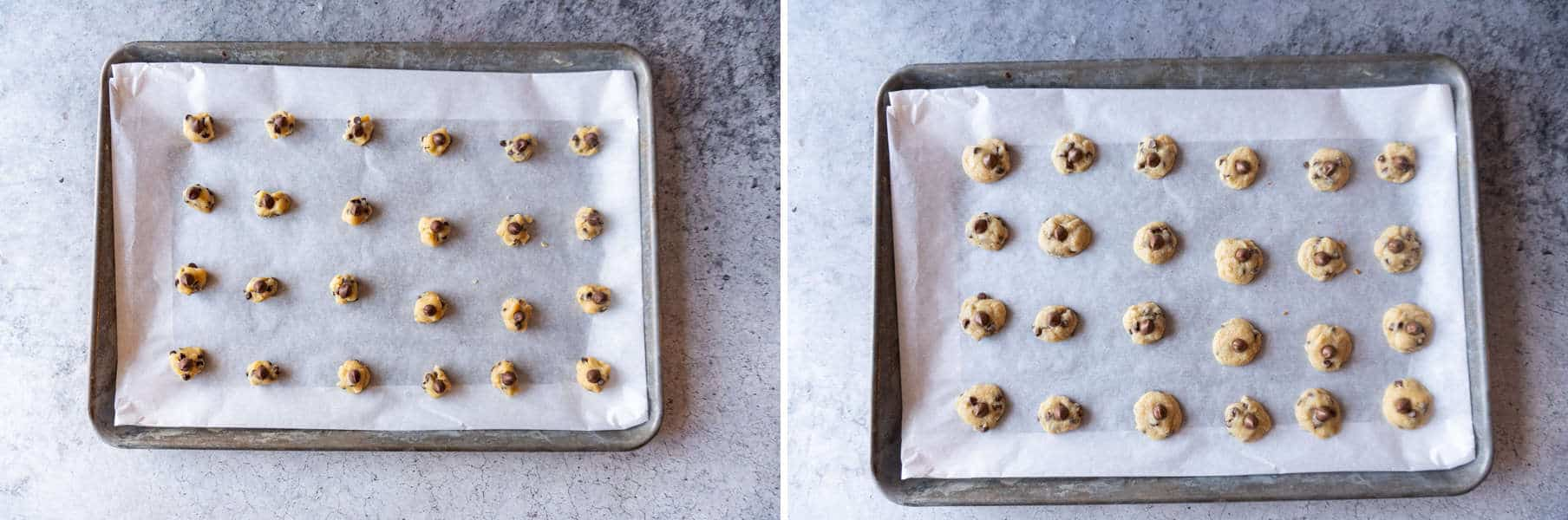 before and after baking mini chocolate chip cookies