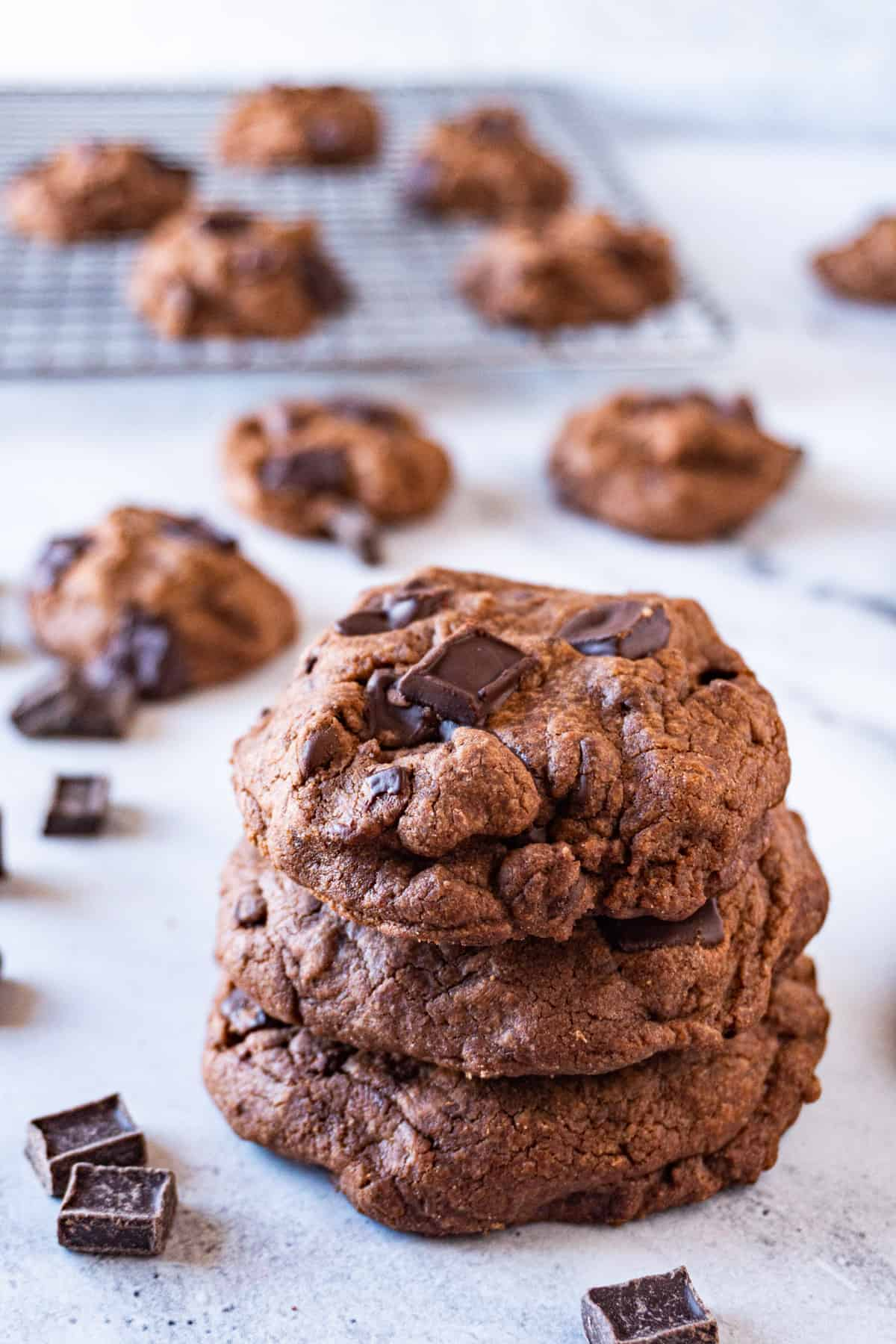 Chewy Chocolate Cookies stacked on one another