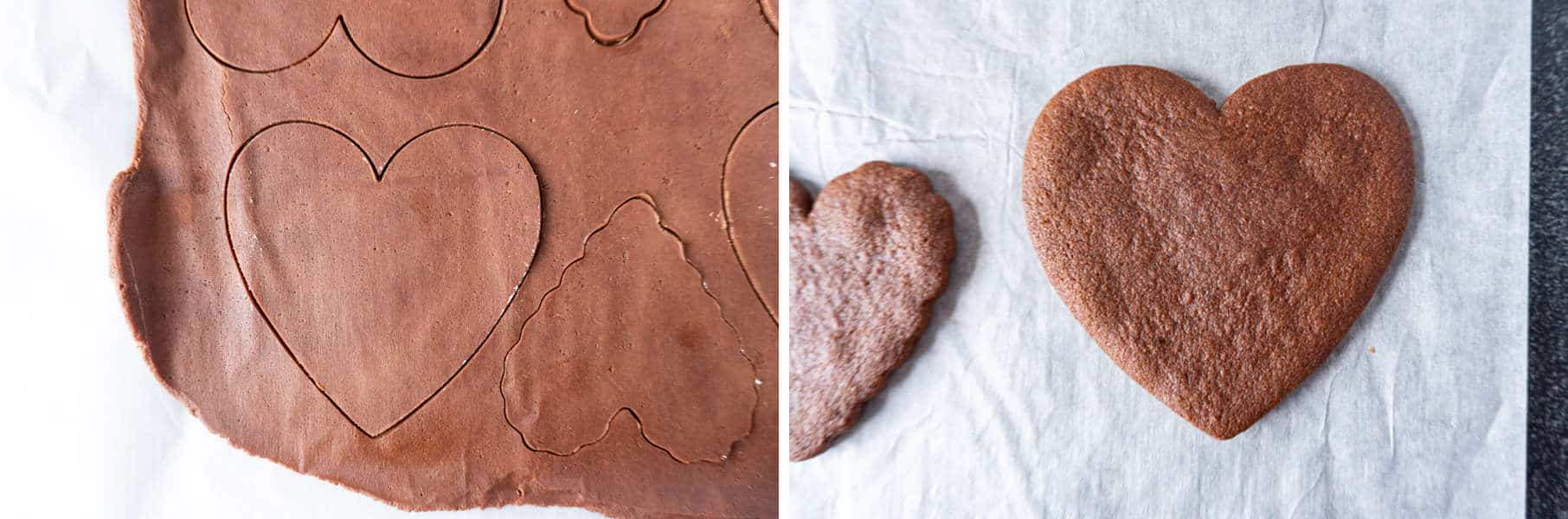 Chocolate Cherry Heart Cookies cut out of dough and then baked side by side