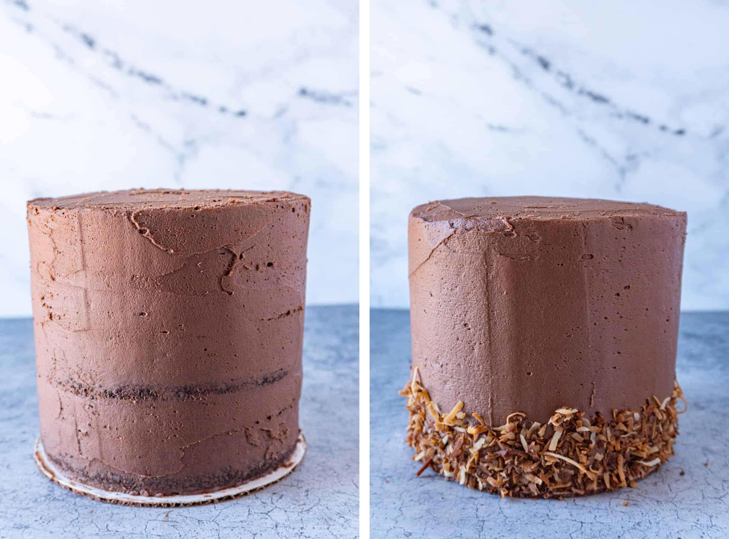 German Chocolate Cake Crumb Coat vs final coat