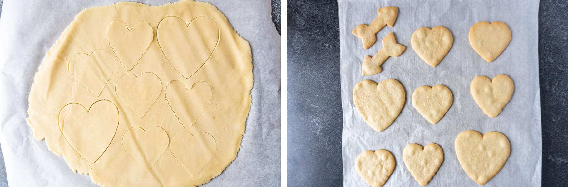 Valentine's Sugar Cookies cut out before baking and after baking