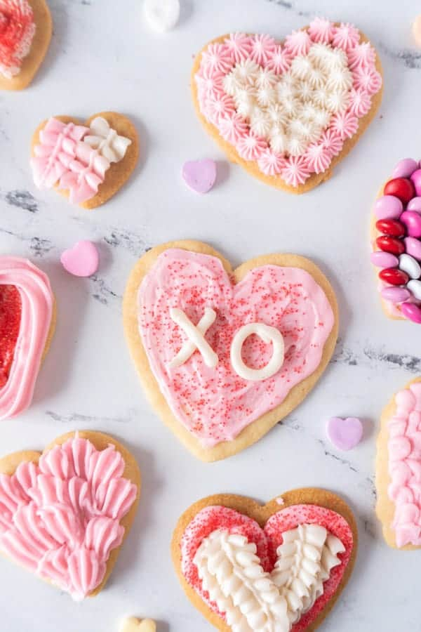 Valentine's Sugar Cookies with writing on them