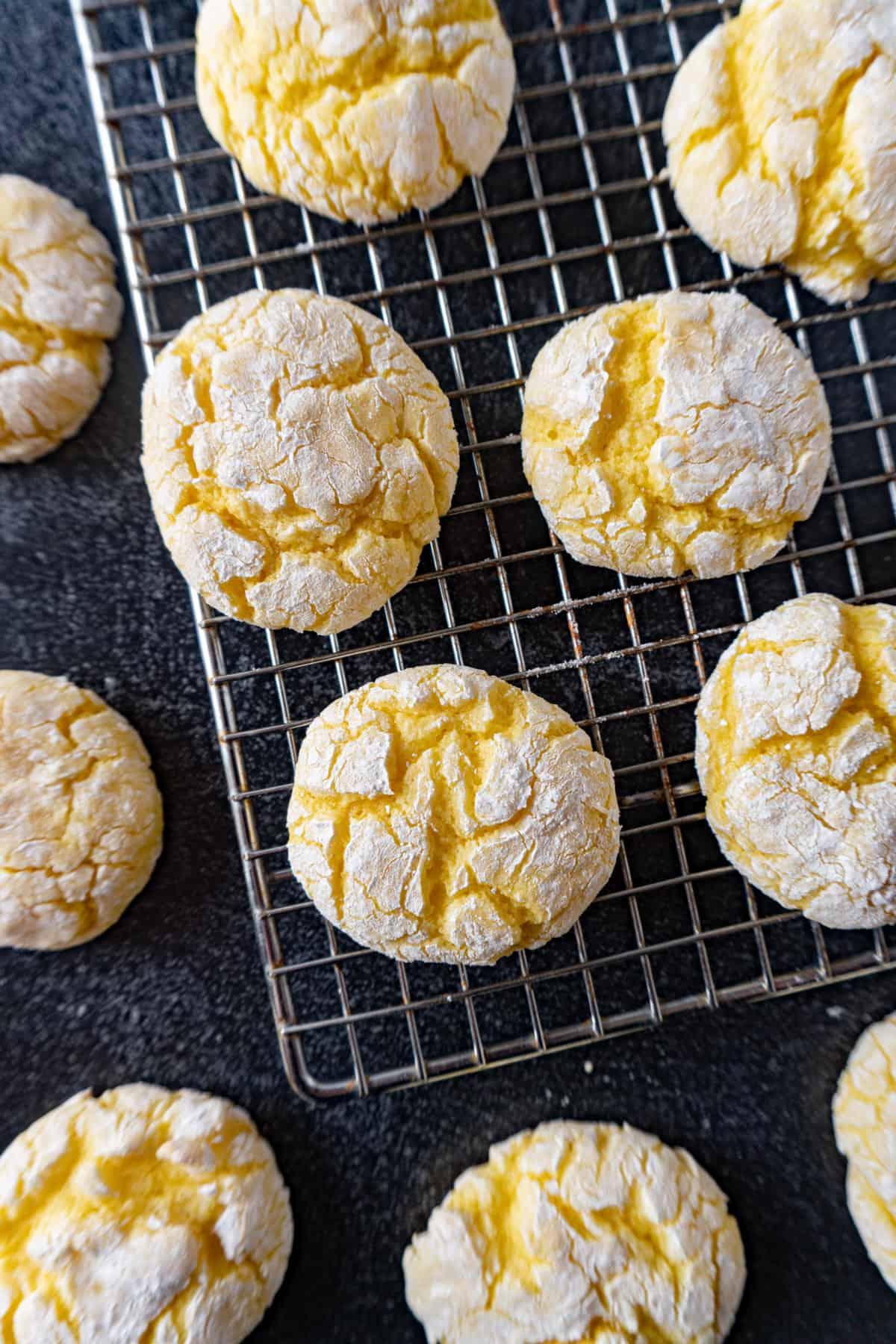 Lemon Crinkle cookies cooling on wire rack