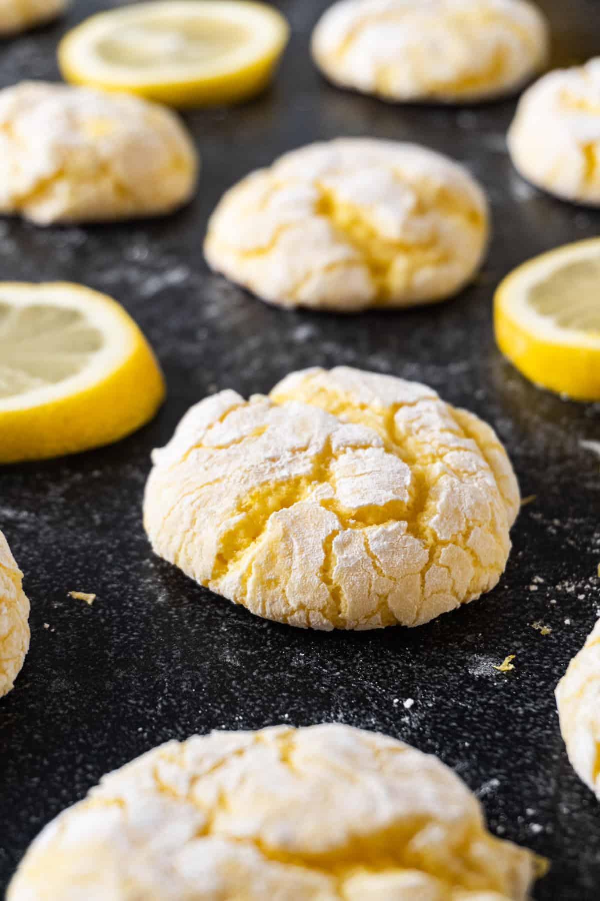 Lemon cookie close up